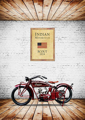 Indian Scout 1924 Art Print by Mark Rogan