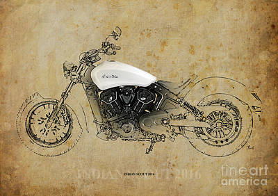Bike Drawing - Indian Scout 2016 by Pablo Franchi