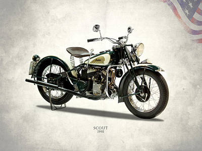Indian Scout 741 1941 Art Print by Mark Rogan