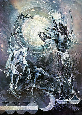 Painting - Indian Spirit Lunar Dance by Connie Williams