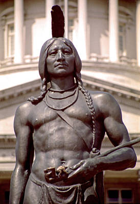Indian Statue At Utah State Capitol Art Print by Steve Ohlsen