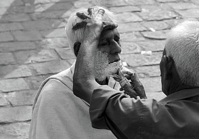 Photograph - Indian Street Barber Image 1 by Prakash Ghai