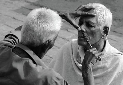 Photograph - Indian Street Barber Image 2 by Prakash Ghai