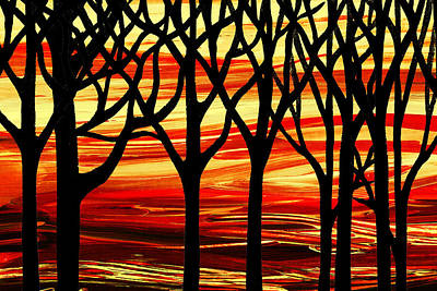 Painting - Indian Summer Abstract Forest by Irina Sztukowski