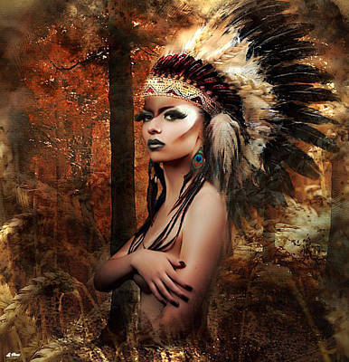 Native Portraits Mixed Media - Indian Summer by G Berry