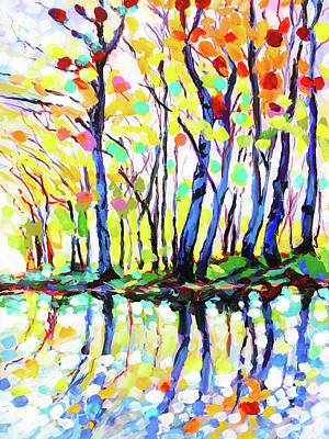 Wall Art - Painting - Indian Summer Reflections by Charles Wallis
