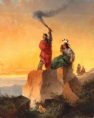 Southwest Landscape Painting - Indian Telegraph by John Mix Stanley
