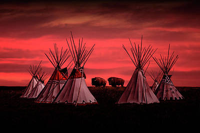 Photograph - Indian Tepees At Sunset With American Bison by Randall Nyhof