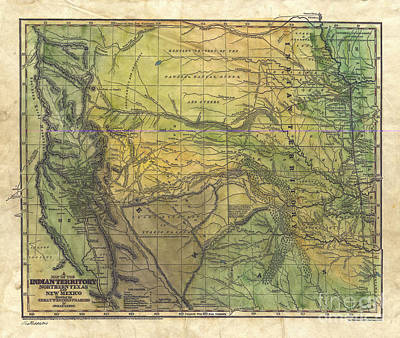 Painting -  Indian Ter North Texas Map by Lisa Middleton