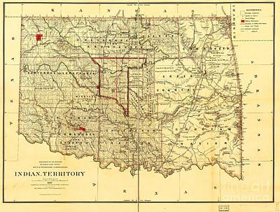 Oklahoma Drawing - Indian Territory by Pg Reproductions