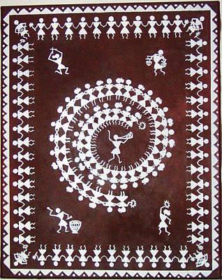Indian Tribal Art Painting - Indian Tribal Warli Art by Monica Bhattacharya