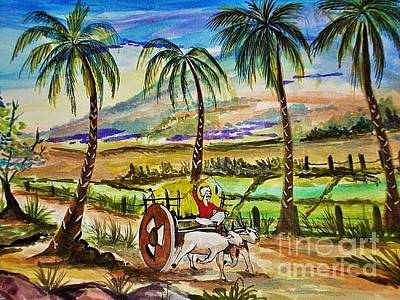 Bullock-cart Painting - Indian Village by Sanjana Hemanth