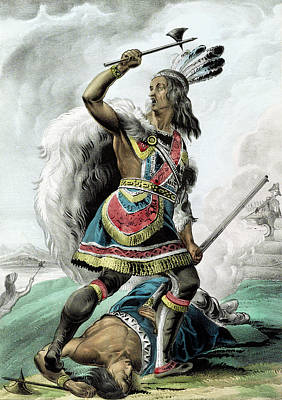 Digital Art - Indian Warrior In 1845 - Remastered by Carlos Diaz