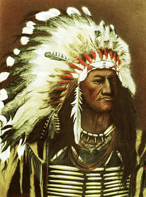 Drawing - Indian With Headdress by Martin Howard