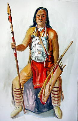 Indian With Spear And Arrows Art Print by Murray Keshner
