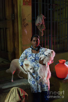 Real Life Photograph - Indian Woman And Her Dogs by Mike Reid