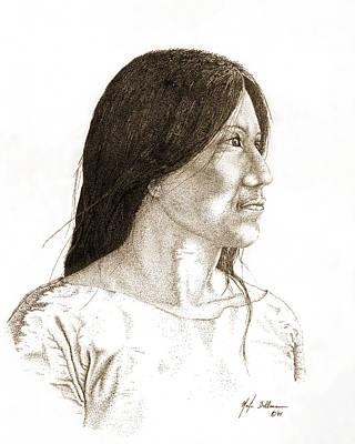 Morning Light Drawing - Indian Woman by Martin Bellmann
