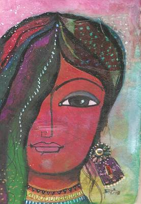 Mixed Media - Indian Woman Rajasthani Colorful by Prerna Poojara
