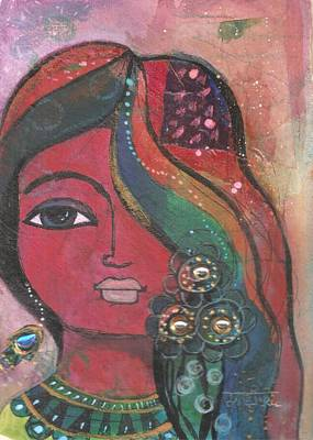 Art Print featuring the mixed media Indian Woman With Flowers  by Prerna Poojara