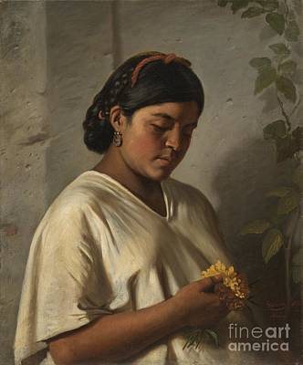 Woman With Black Hair Painting - Indian Woman With Marigold by MotionAge Designs
