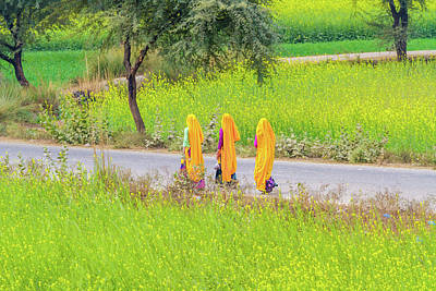 Photograph - Indian Women On A Village Road. by Nila Newsom