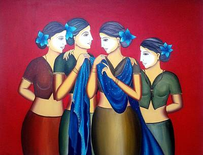 Indian Tribal Art Painting - Indian Women by Pooja Yadav