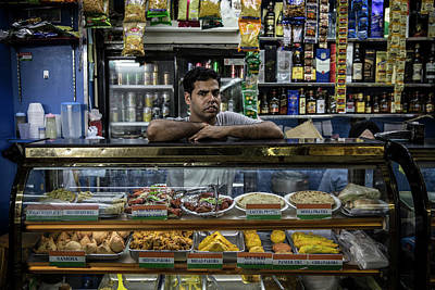 Indian Worker From Kolkata Running A Grocery Store Inside Chunki Art Print