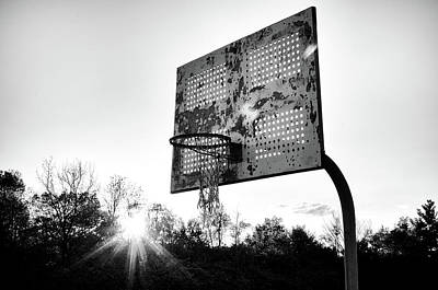 Photograph - Indiana Basketball Hoop In Black And White by Anthony Doudt