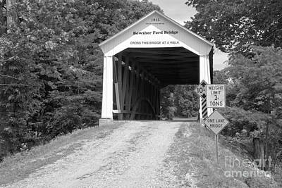 Photograph - Indiana Bowsher Cofd Covered Bridge Black And White by Adam Jewell
