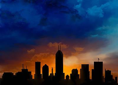 Indiana Landscapes Digital Art - Indiana Indianapolis Night Skyline by Marlene Watson