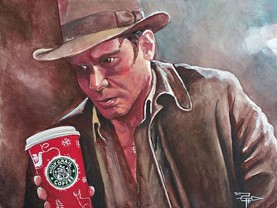 Indiana Jones And The Holy Java Art Print by Tom Carlton