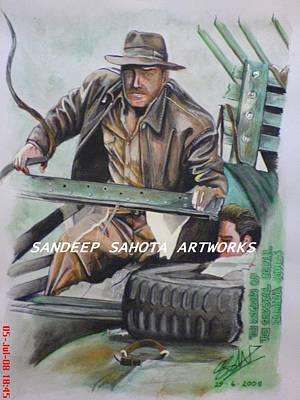 Dr. J Drawing - Indiana Jones by Sandeep Kumar Sahota