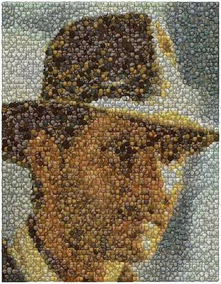 Art Print featuring the mixed media Indiana Jones Treasure Coins Mosaic by Paul Van Scott