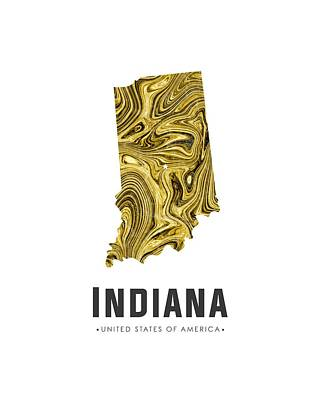 Indiana Map Art Abstract In Gold Yellow Art Print