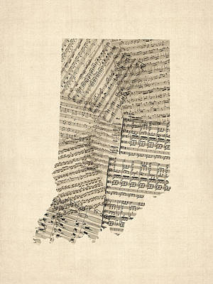 Indiana Art Digital Art - Indiana Map, Old Sheet Music Map by Michael Tompsett