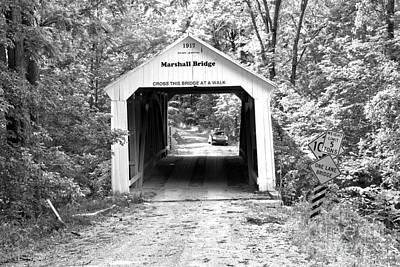 Photograph - Indiana Marshall Covered Bridge Black And White by Adam Jewell