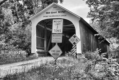 Photograph - Indiana Mill Creek Covered Bridge Covered Bridge Black And White by Adam Jewell