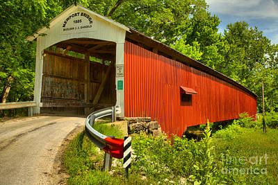 Photograph - Indiana Newport Covered Bridge by Adam Jewell