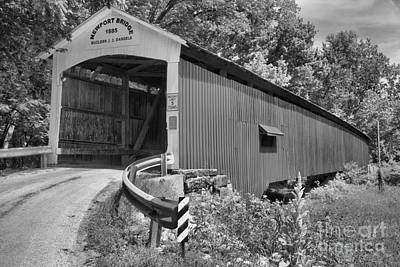 Photograph - Indiana Newport Covered Bridge Black And White by Adam Jewell