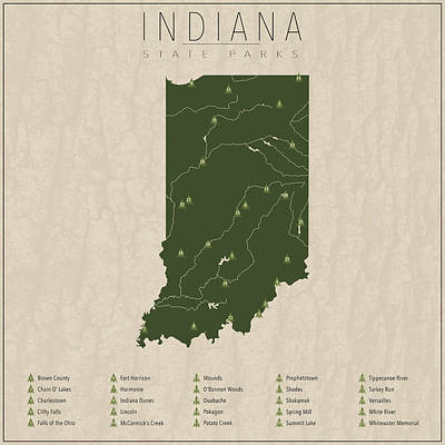 Indiana Parks Art Print by Finlay McNevin