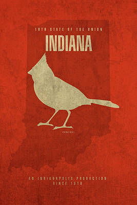 Cardinal Mixed Media - Indiana State Facts Minimalist Movie Poster Art by Design Turnpike