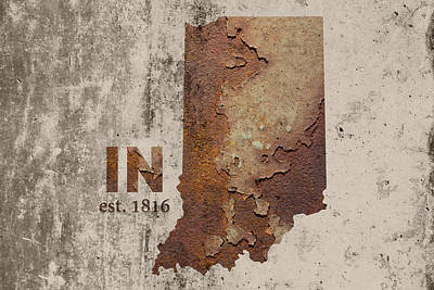 Cement Mixed Media - Indiana State Map Industrial Rusted Metal On Cement Wall With Founding Date Series 032 by Design Turnpike
