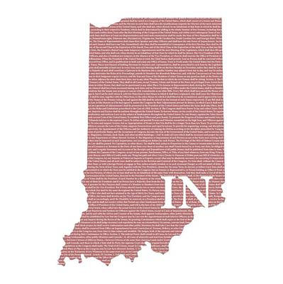 Indiana State Map With Text Of Constitution Art Print