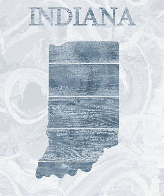 Mixed Media - Indiana State Outline Barn Door by Dan Sproul