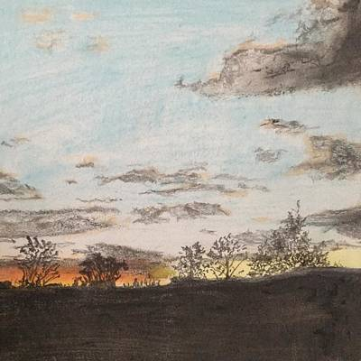 Indiana Landscapes Drawing - Indiana Sunset by Nevera Keesler