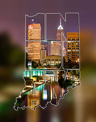 Indiana Typographic Blur - Indianapolis Skyline - Canal Walk Bridge View - State Shapes Series Art Print