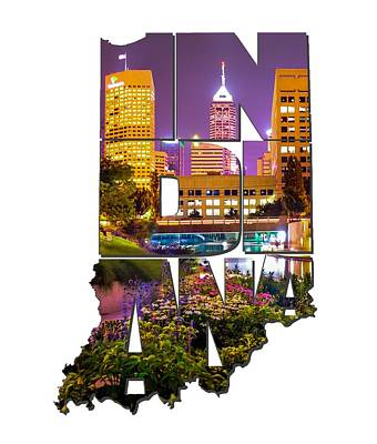 Photograph - Indiana Typography - Downtown Indianapolis Skyline At Night by Gregory Ballos