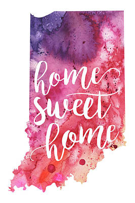 Indiana Watercolor Map - Home Sweet Home Hand Lettering  Art Print