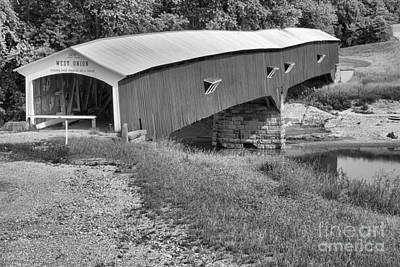 Photograph - Indiana West Union Covered Bridge Black And White by Adam Jewell