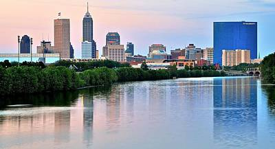 White River Photograph - Indianapolis At Dusk by Frozen in Time Fine Art Photography